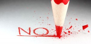 No in red pencil